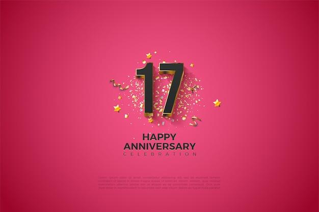 금 갈색 접시에 3d 숫자와 함께 17 주년 기념 배경.