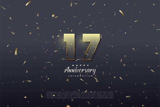 황금 갈색 예리하게 숫자가있는 17 주년 기념 배경.