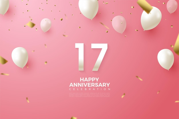 17th anniversary background with numbers and balloons in white