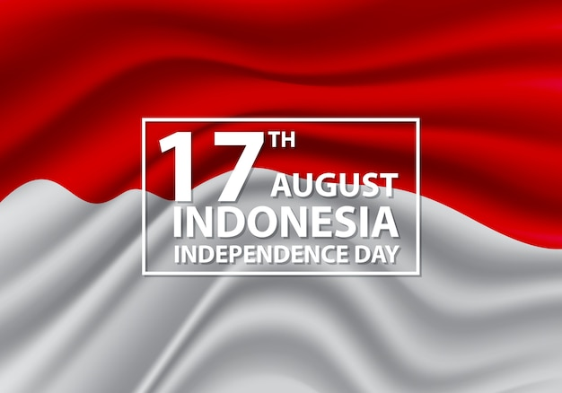 17th august independence day indonesia flag wave.
