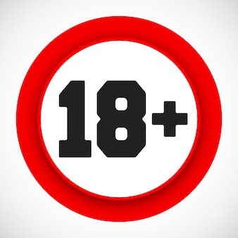 18 세 제한 표지판. 18 년 미만 빨간색 기호는 금지되어 있습니다. 벡터 일러스트입니다.
