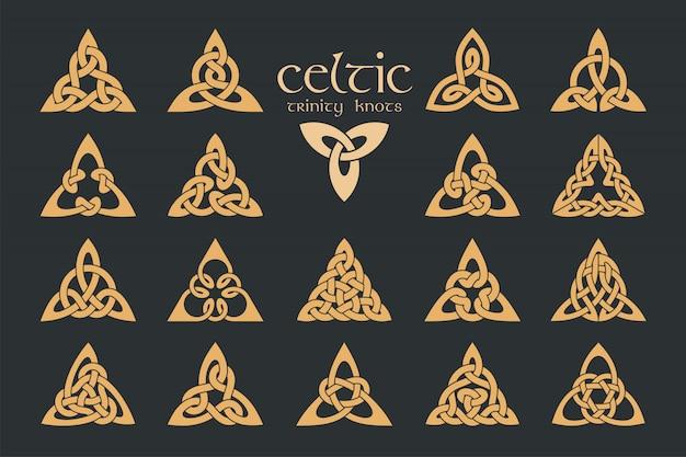 ケルトの三位一体の結び目。 18アイテム。民族の飾り。幾何学