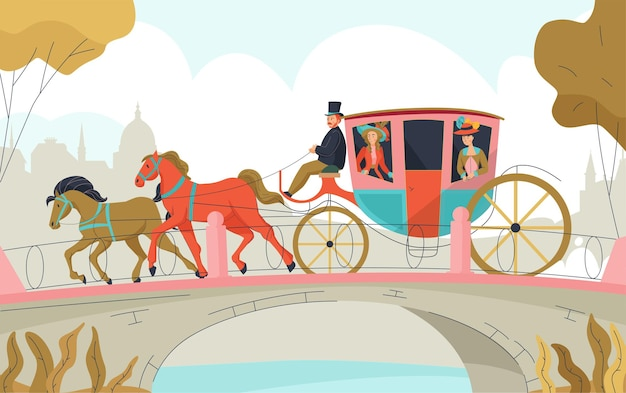 18th 19th century victorian old town carriage outdoor composition with two horses equipage passing the bridge