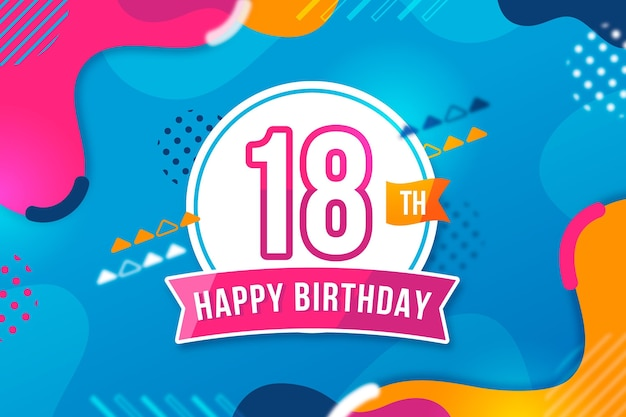 18th birthday background colorful style