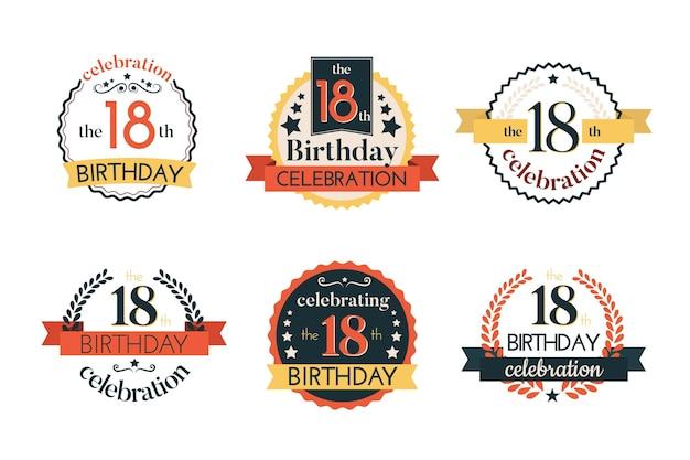 Collezione di distintivi del 18 ° compleanno