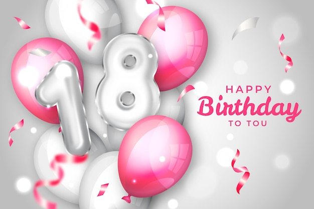 18th birthday balloons background