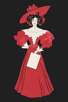 Moda donna del 1900 con stampa artistica in abito rosso, remix di opere d'arte di ethel reed