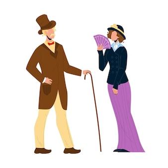 1900 викторианский народ леди и джентльмен вектор. человек пары викторианского стиля с тросточкой и женщина с вентилятором в ретро одежде. персонажи элегантная винтажная одежда плоский мультфильм иллюстрации