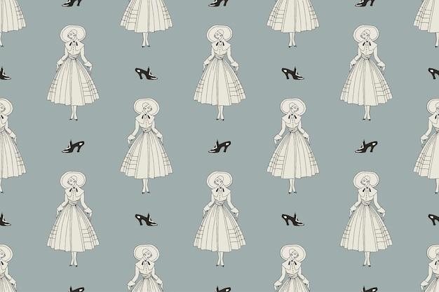 1920年代のファッションファッションパターンベクトルフェミニンな背景、georgebarbierによるアートワークからのリミックス