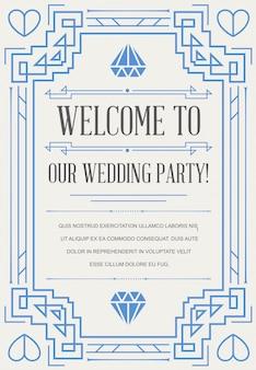 Великолепный стиль приглашения на свадьбу в стиле ар-деко или эпохи модерна 1920-х годов.