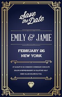 Шаблон приглашения на свадьбу с дизайном в стиле ар-деко или эпоха модерн 1920-х годов