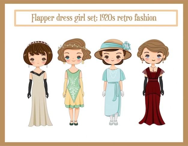 フラッパードレスセット、レトロなファッション1920年代のコレクション漫画とかわいい女の子