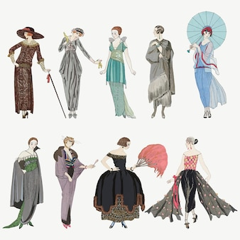 Set vettoriale di moda femminile degli anni '20, remix di opere d'arte di george barbier