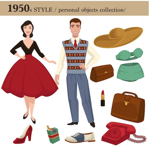 1950 fashion style man and woman personal objects