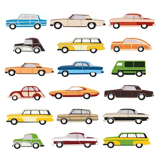 Набор векторных старых автомобилей в 1960 году