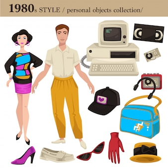 1980 fashion style man and woman personal objects