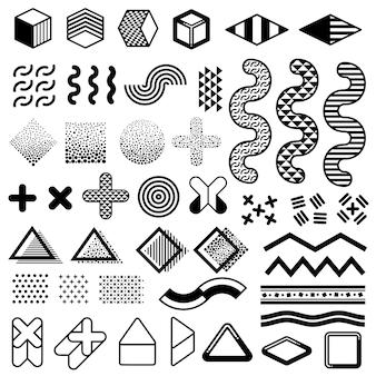 抽象的な1980年代ファッションメンフィスデザインのベクトル要素。トレンディなパターンのためのモダンなグラフィック形状