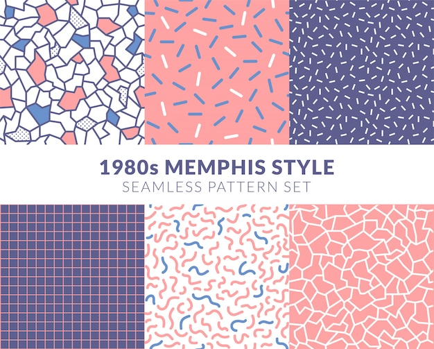 パステルピンクの1980年代のメンフィススタイルのシームレスパターンセット