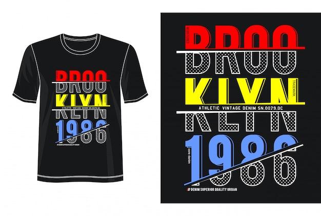 ブルックリン1986タイポグラフィデザインtシャツ