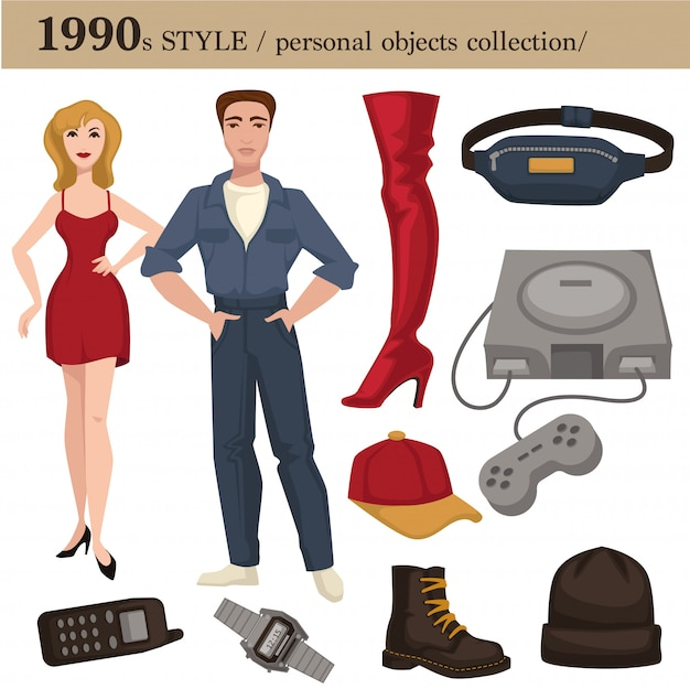 1990 fashion style man and woman personal objects