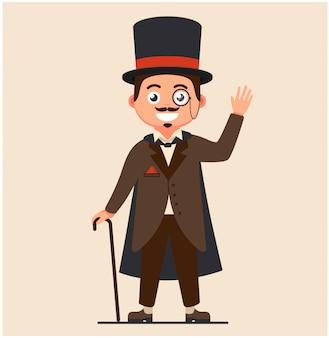 杖とレインコートのビジネス紳士。 19世紀の金持ち。口ひげと真面目なレトロなビジネスマン。