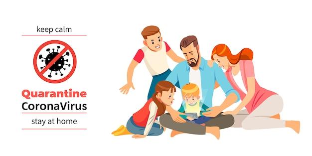Коронавирус ковид-19, карантин мотивационный постер. семья взрослых и детей остаются дома, чтобы снизить риск заражения и распространения вируса. сохраняйте спокойствие и оставайтесь дома цитата иллюстрации