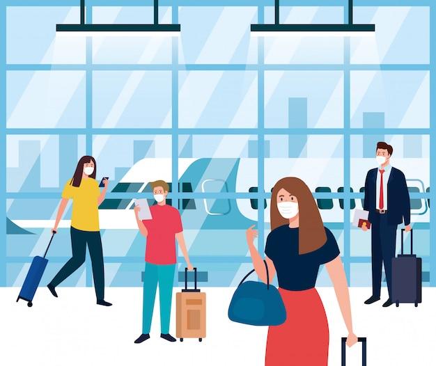 Люди, носящие медицинскую защитную маску в терминале аэропорта, путешествующие на самолете во время пандемии коронавируса, предупреждающие об опасности 19