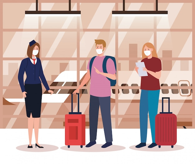 Стюардесса и пара в защитной маске в терминале аэропорта, путешествующие на самолете во время пандемии коронавируса, профилактика в период 19
