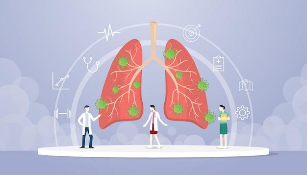 Вирус коронавируса коровьей-19 на легких с врачом анализирует повреждение здоровья органов с современным плоским стилем