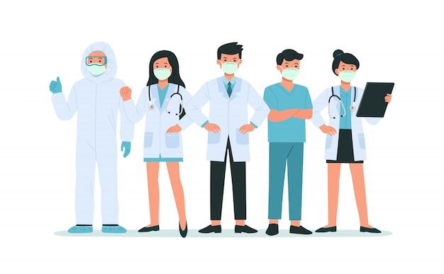 フェイスマスクをつけた勇敢な医師と看護師は、コロナウイルス病のコビッド19と戦います。彼らは英雄です。ヘルスケアと安全。健康細菌ウイルス保護。