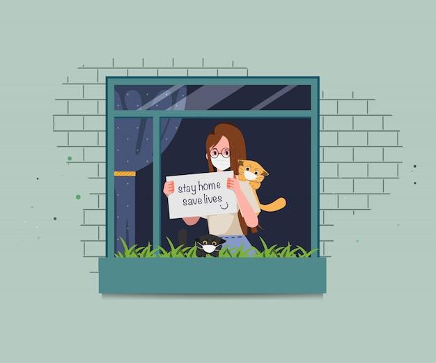 Женщины остаются дома и спасают жизни, чтобы избежать распространения коронавируса. стоп ковид-19.