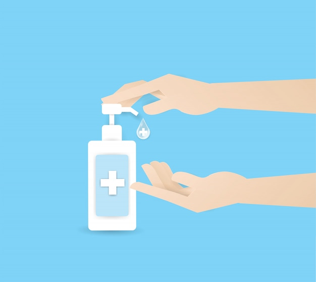 Рука отжимает алкоголь или суп в бутылочке двух человеческих рук, мойте руки. личная гигиена, здравоохранение, защита от болезней, коронавирус, ковид-19