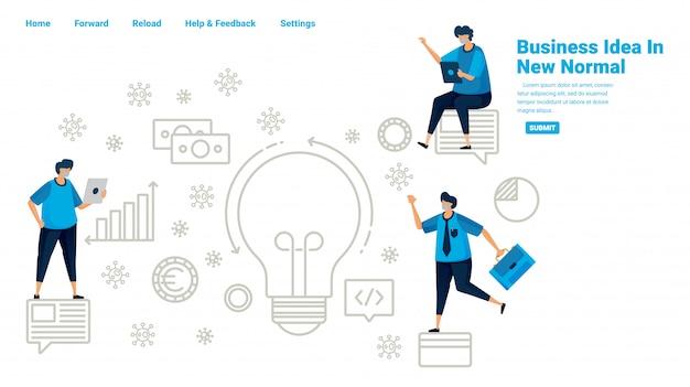 熱狂的な19パンデミックで生き残るためのビジネスアイデア。新しい通常のビジネスを分析します。パンデミックの機会を探します。ランディングページ、ウェブサイト、モバイルアプリ、ポスター、チラシ、バナーのイラストデザイン
