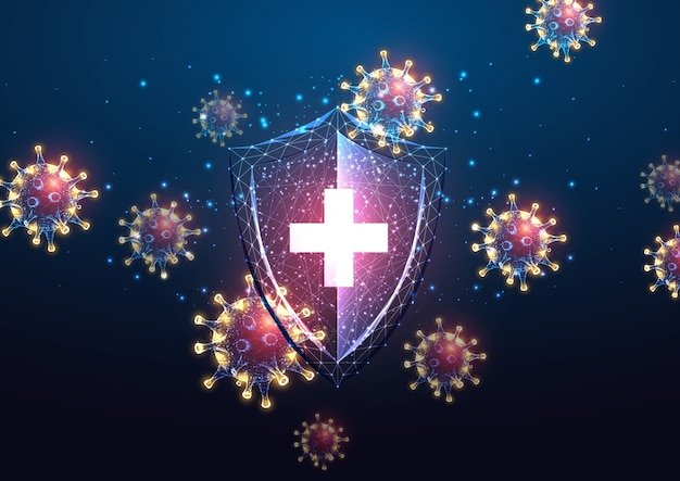 Футуристическая защита иммунной системы от коронавируса концепция болезни ковид-19