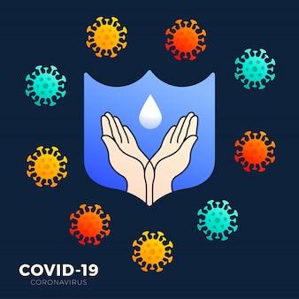 Значок для мытья рук с синей рамкой для защиты от распространения символа микробов. концепция предотвращения коронавирусной инфекции-19