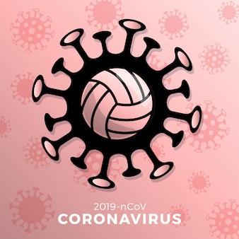Волейбол знак осторожно, коронавирус. остановить вспышку ковид-19. опасность коронавируса и риска для здоровья населения и вспышки гриппа. отмена концепции спортивных мероприятий и матчей