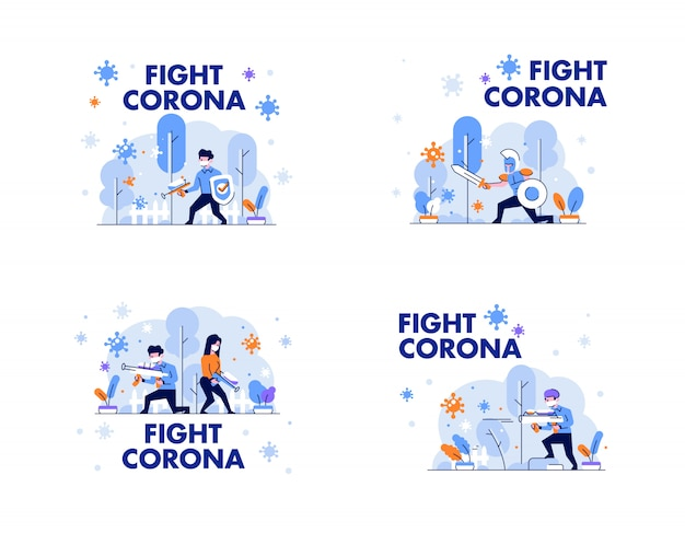 Здравоохранение медицинский мужчина и женщина защищают и борются с короной, защитой 19, защищая людей характер плоский дизайн градиент стиль иллюстрации