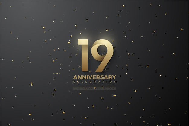 19-я годовщина с узорными числами.