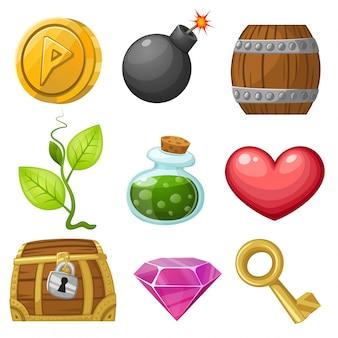 Векторная иллюстрация иконки иллюстрация ресурсов для игры векторные иллюстрации подобрать предметы набор 1