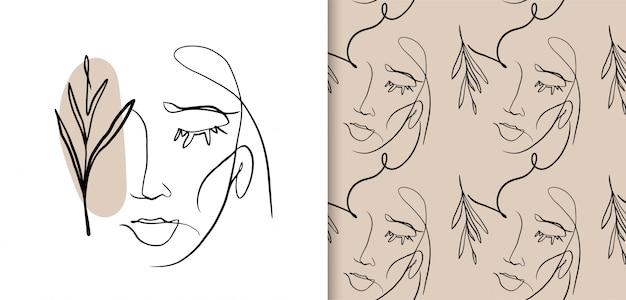抽象的な女性の顔の1つの線画。シームレスパターン。最小限のスタイルベクトル。