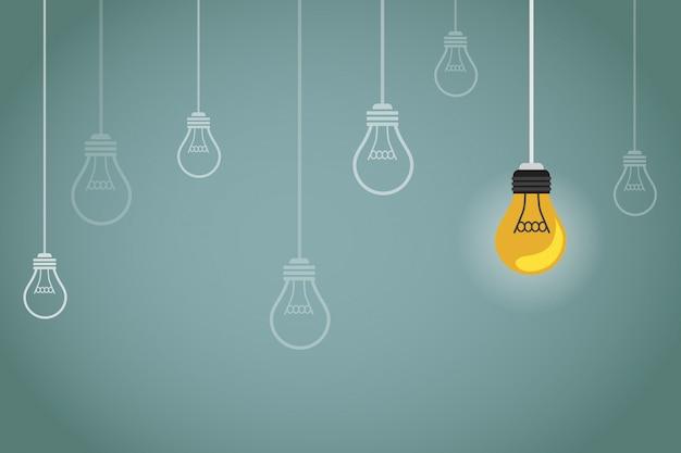 多くの電球が消灯し、1つだけが点灯している