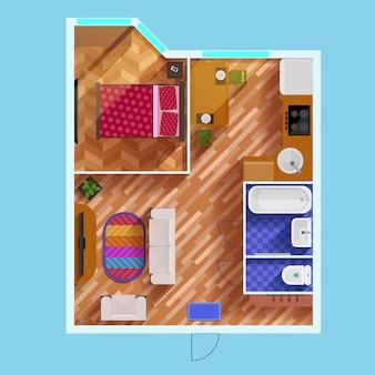 1ベッドルームアパートメントの間取り図