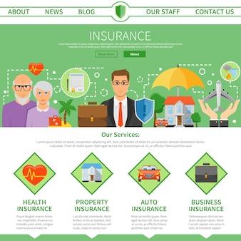 保険会社1ページフラットデザイン
