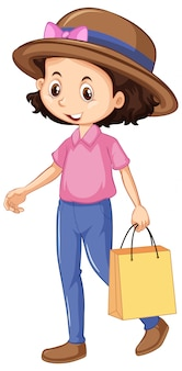 1つの幸せな女の子のショッピングバッグ