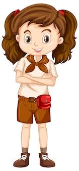 茶色の制服を着た1つの幸せな女の子