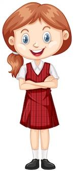 赤い制服を着た1つの幸せな女の子