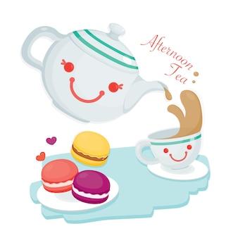アフタヌーンティー。キュートなティーポットと紅茶1杯にかわいいマカロンがたくさん添えられています。