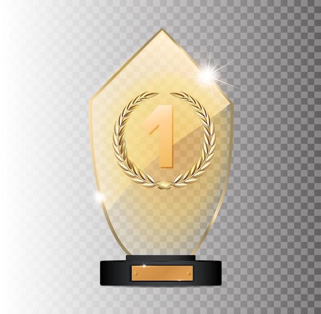 灰色の背景に長方形の金ガラス賞受賞1位