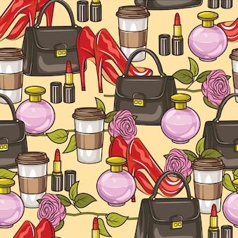 色ベクトルのシームレスなパターン。女性のワードローブアイテム。ハンドバッグ、かかとの高い靴、香水、花、口紅、コーヒー1杯。