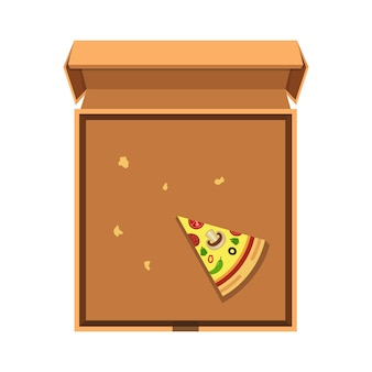 開いた段ボール箱にピザのスライスを1つ